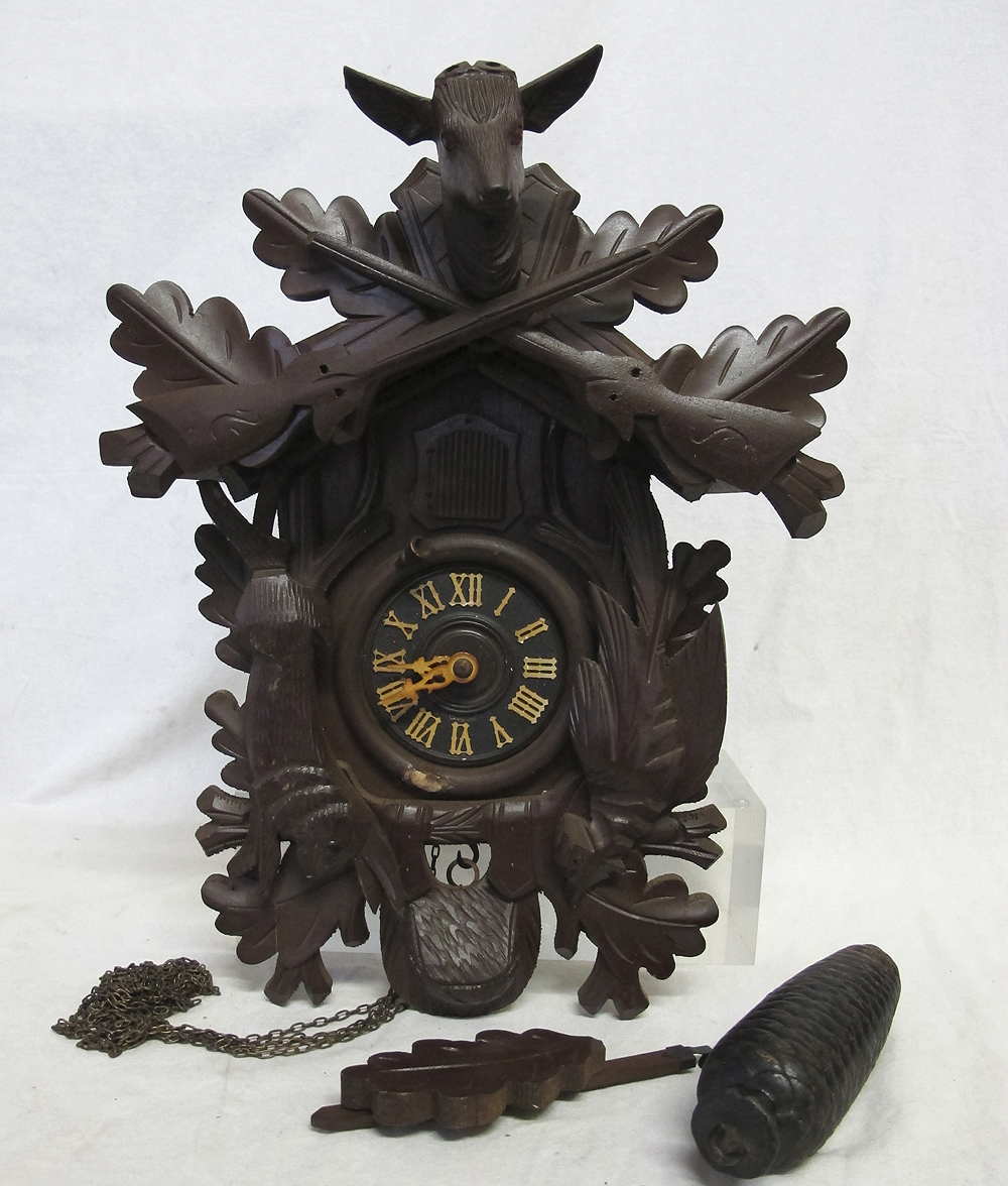 Miniature German Carved Wooden Black Forest Cuckoo 8 Day